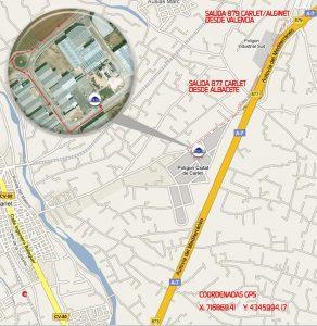 Mapa localización planta de Carlet (Valencia)